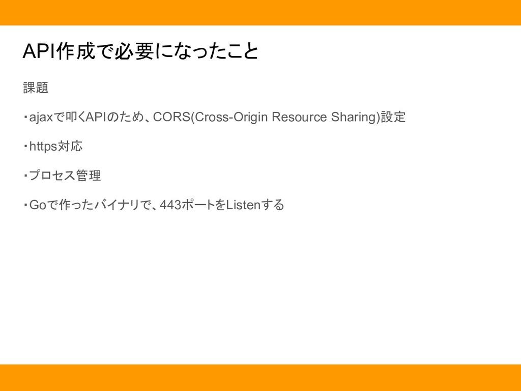 API作成で必要になったこと 課題 ・ajaxで叩くAPIのため、CORS(Cross-Ori...