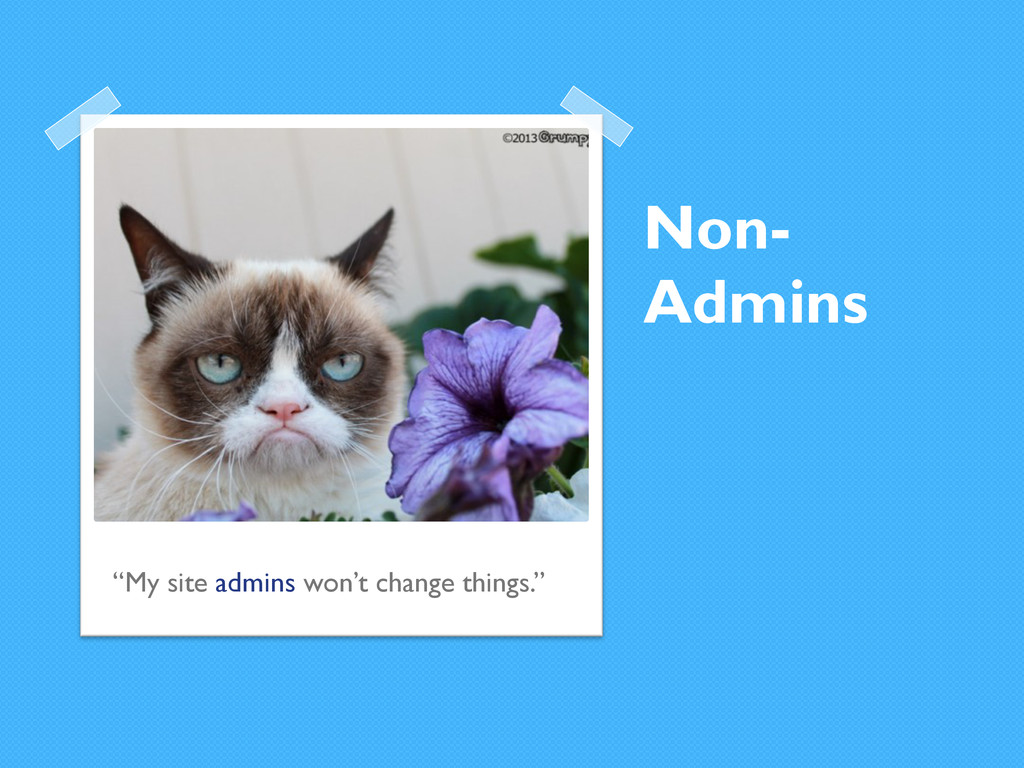 "Non- Admins ""My site admins won't change things..."