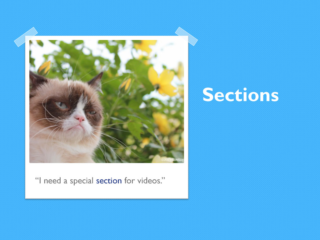 """Sections """"I need a special section for videos."""""""