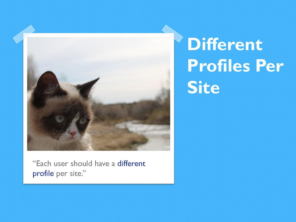 "Different Profiles Per Site ""Each user should h..."