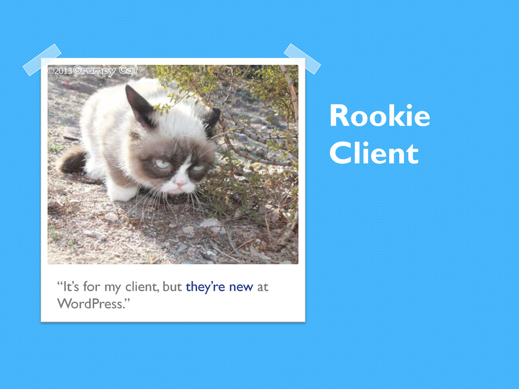 """Rookie Client """"It's for my client, but they're ..."""
