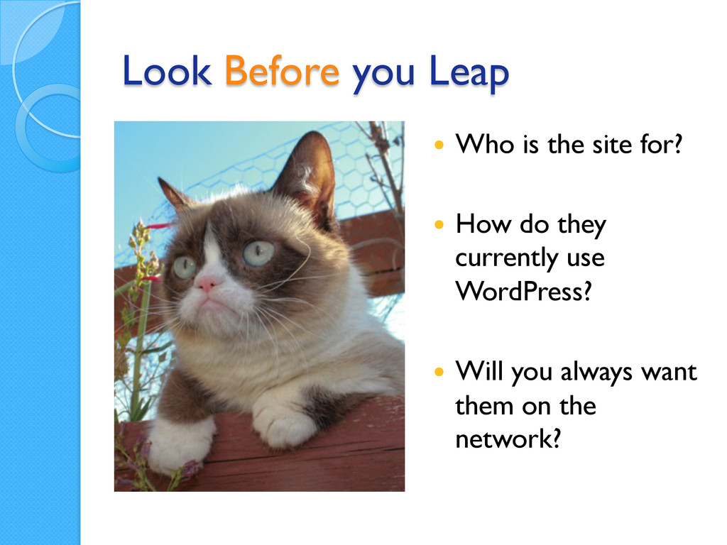 Look Before you Leap — Who is the site for? —...