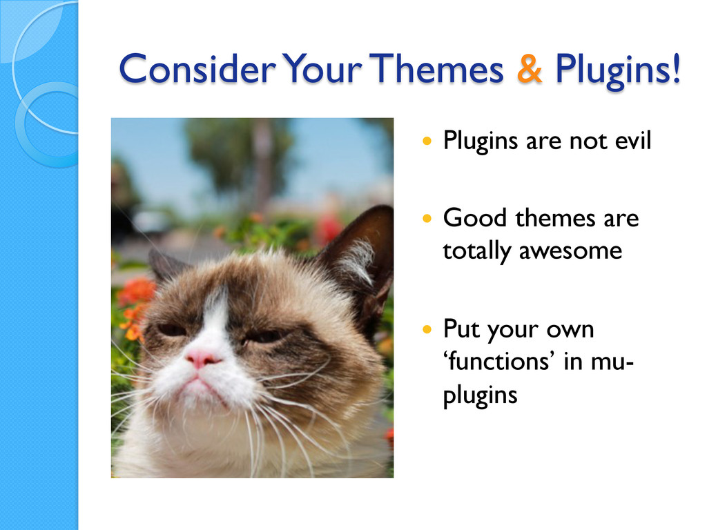 Consider Your Themes & Plugins! — Plugins are...