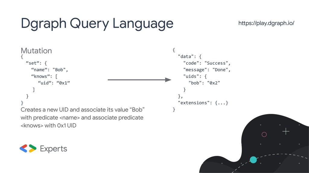 """Mutation Dgraph Query Language { """"set"""": { """"name..."""