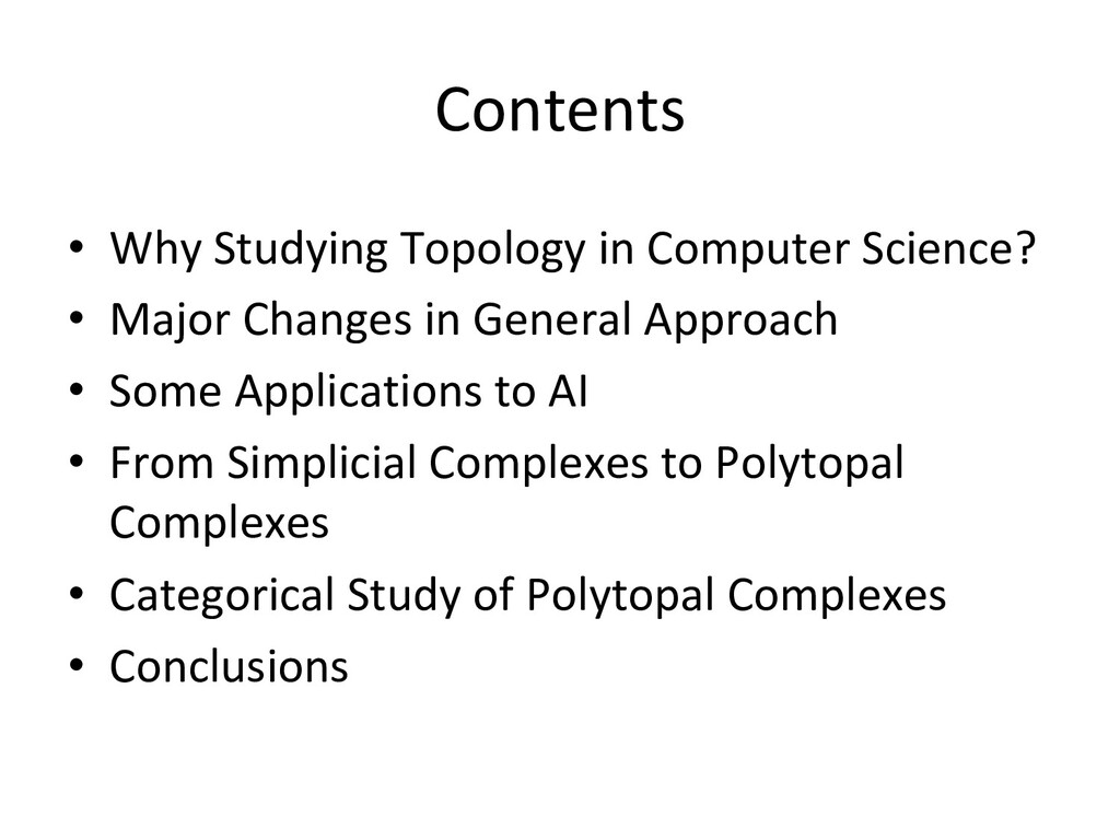 Contents • Why Studying Topology in Computer S...