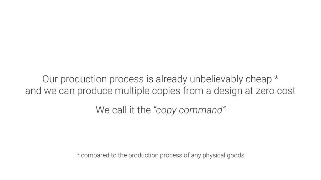 Our production process is already unbelievably ...