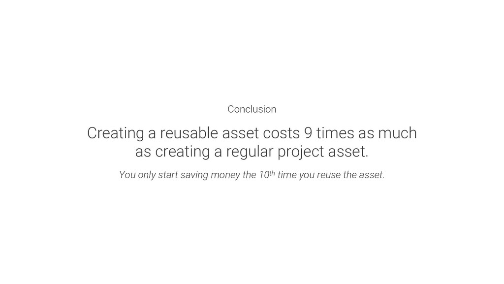 Conclusion Creating a reusable asset costs 9 ti...