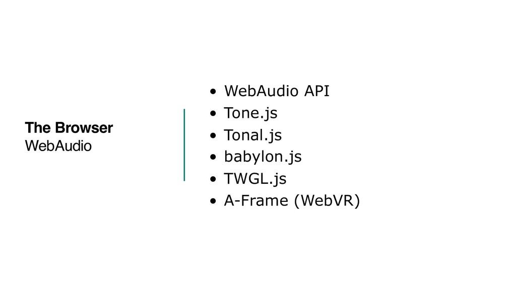 • WebAudio API • Tone.js • Tonal.js • babylon.j...