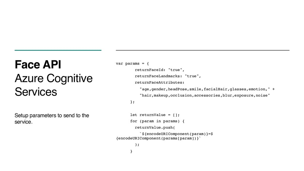 Face API Azure Cognitive Services Setup paramet...