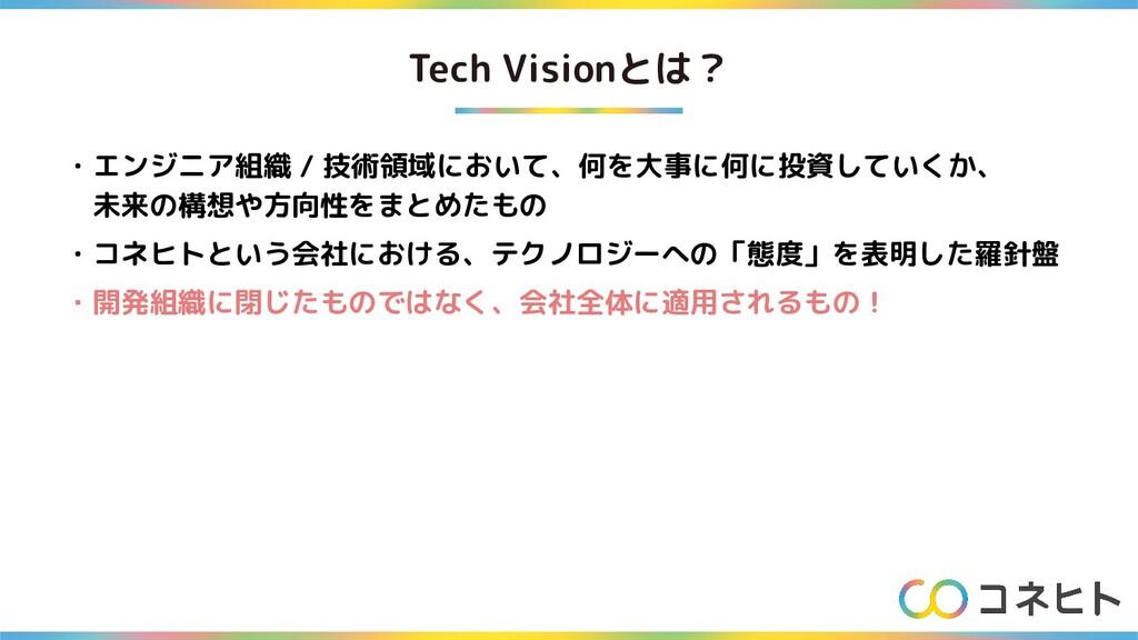 Tech Visionとは? ・エンジニア組織 / 技術領域において、何を大事に何に投資してい...