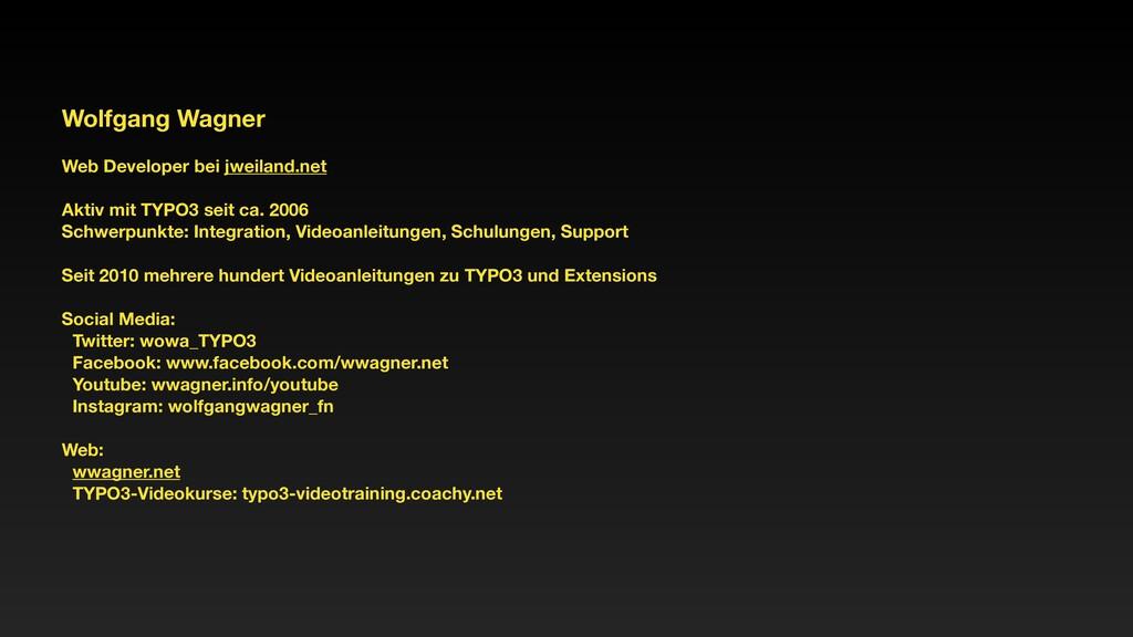 Wolfgang Wagner Web Developer bei jweiland.net ...