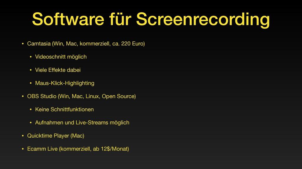 Software für Screenrecording • Camtasia (Win, M...