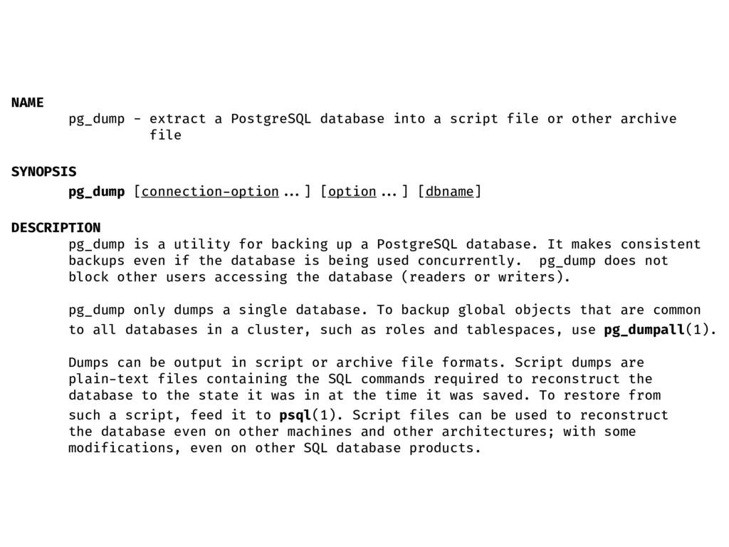 NAME pg_dump - extract a PostgreSQL database in...