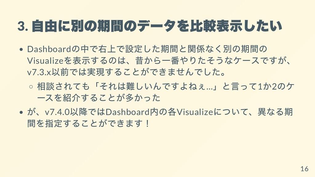 3. ⾃由に別の期間のデータを⽐較表⽰したい Dashboard の中で右上で設定した期間と関...