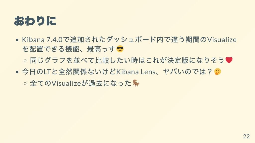 おわりに Kibana 7.4.0 で追加されたダッシュボード内で違う期間のVisualize...