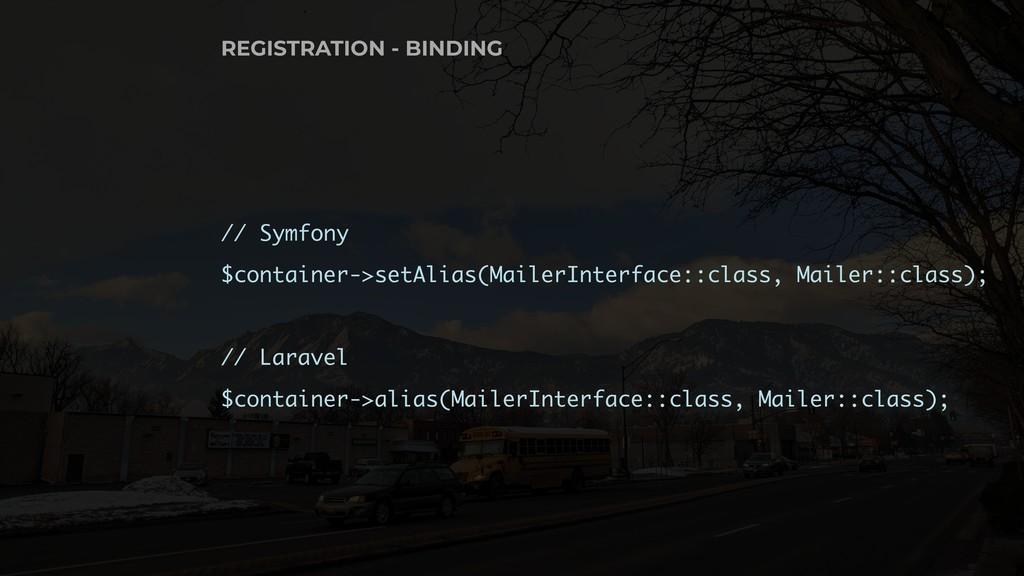// Symfony $container->setAlias(MailerInterface...