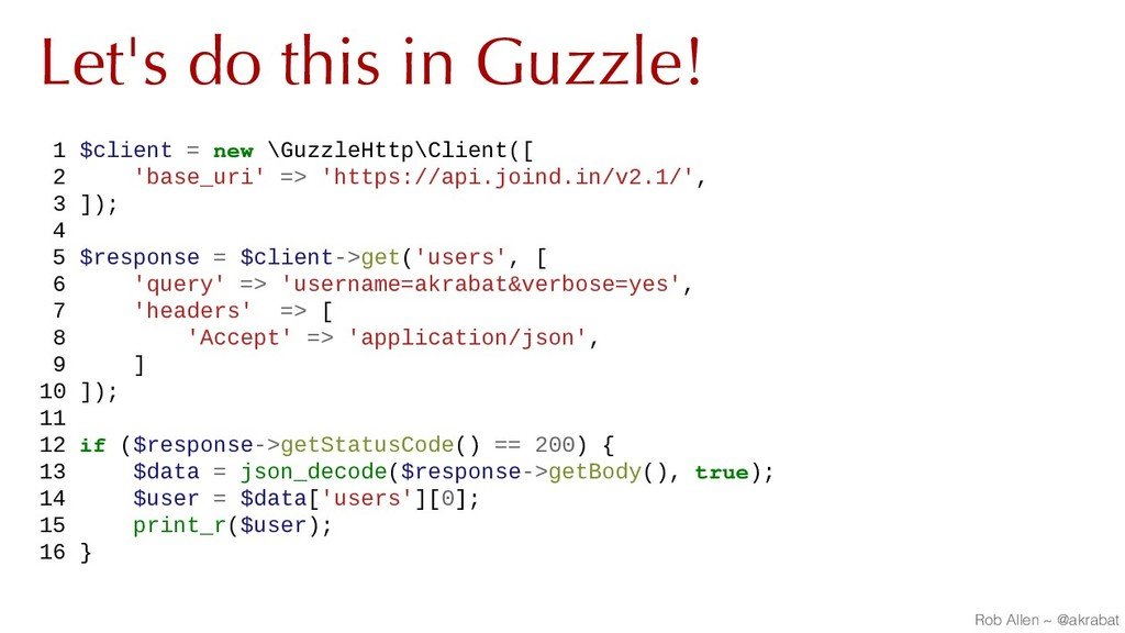 Let's do this in Guzzle! 1 $client = new \Guzzl...