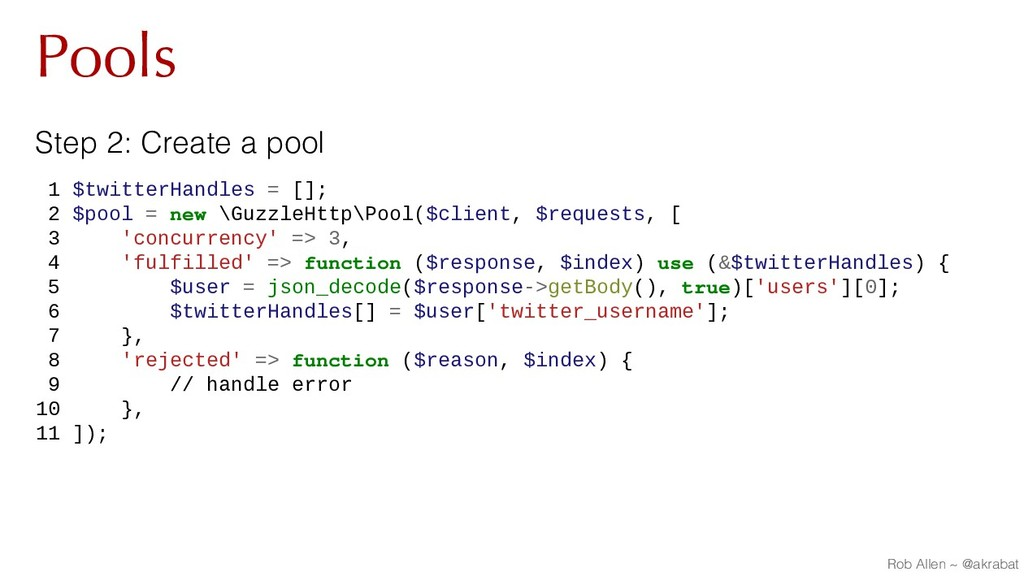 Pools Step 2: Create a pool 1 $twitterHandles =...