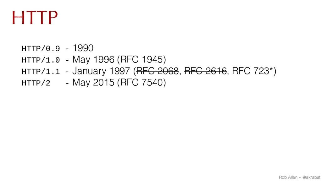 HTTP HTTP/0.9 - 1990 HTTP/1.0 - May 1996 (RFC 1...