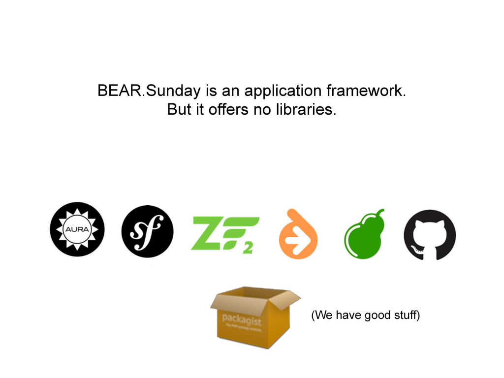 BEAR.Sunday is an application framework. But it...