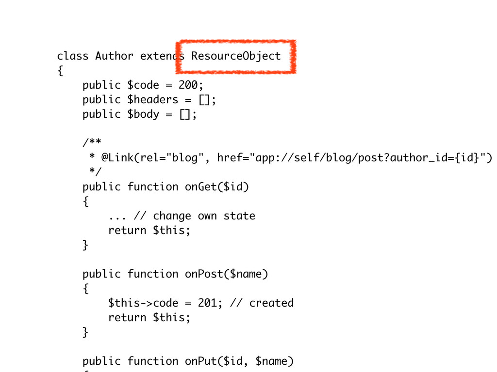 class Author extends ResourceObject { public $c...