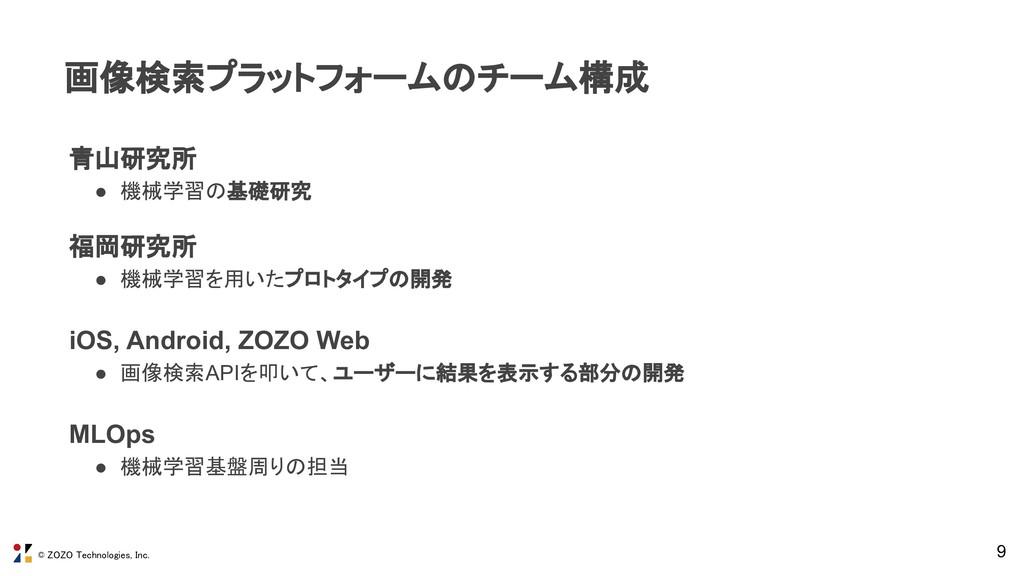 © ZOZO Technologies, Inc. 9 画像検索プラットフォームのチーム構成...