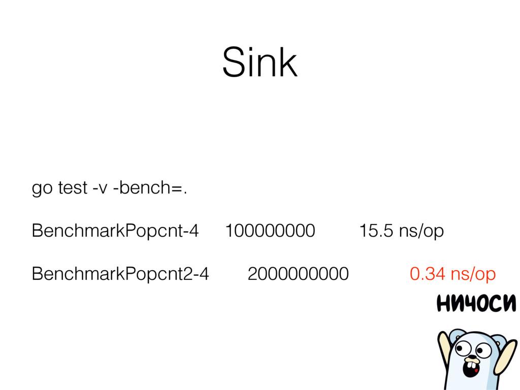 Sink go test -v -bench=. BenchmarkPopcnt-4 1000...