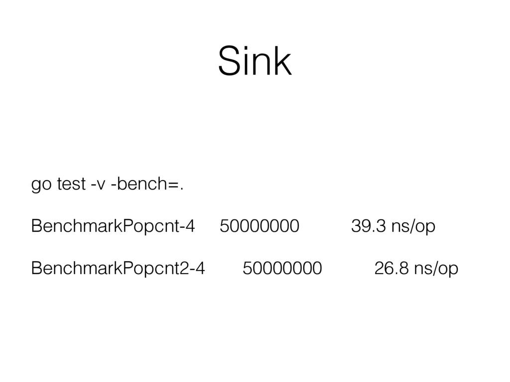 Sink go test -v -bench=. BenchmarkPopcnt-4 5000...