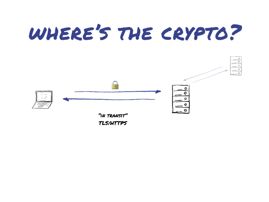 "where's the crypto?  ""in transit"" TLS/HTTPS"