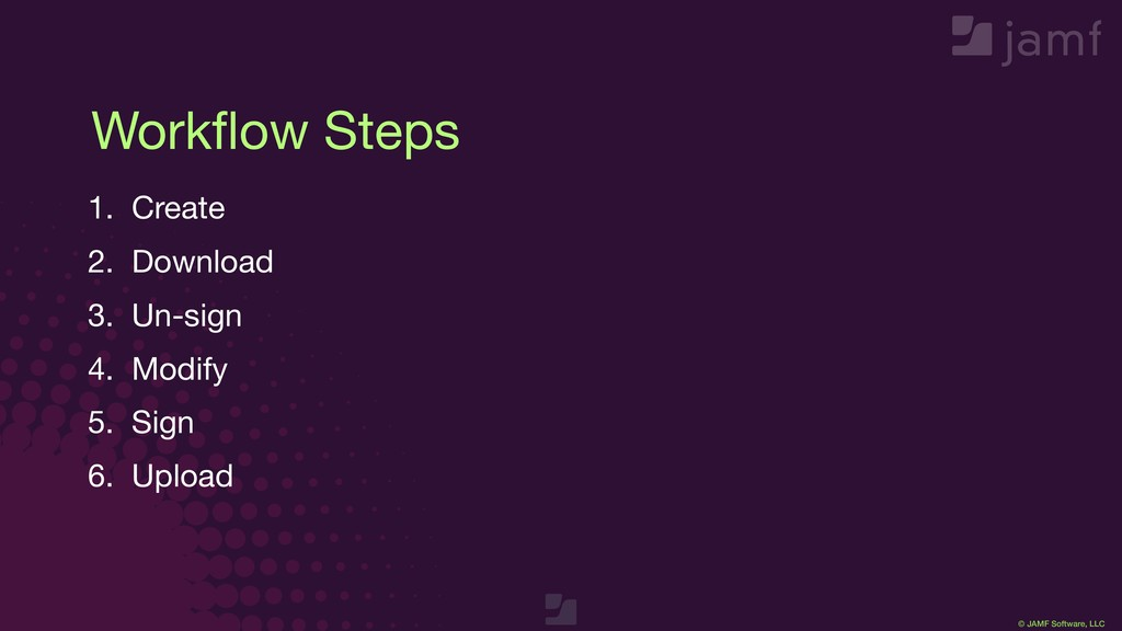 © JAMF Software, LLC Workflow Steps 1. Create  2...