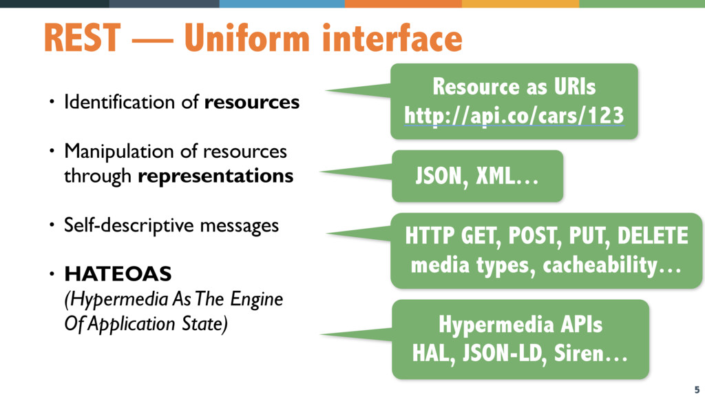 5 REST — Uniform interface • Identification of ...