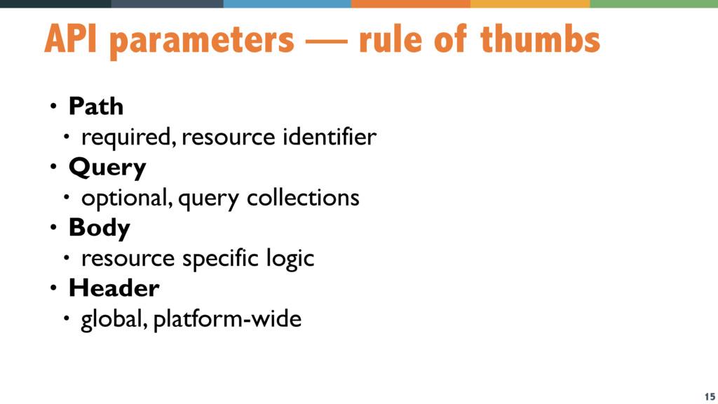 15 API parameters — rule of thumbs • Path • req...