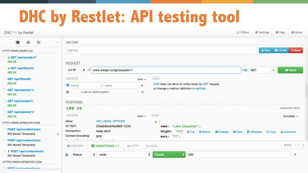 24 DHC by Restlet: API testing tool