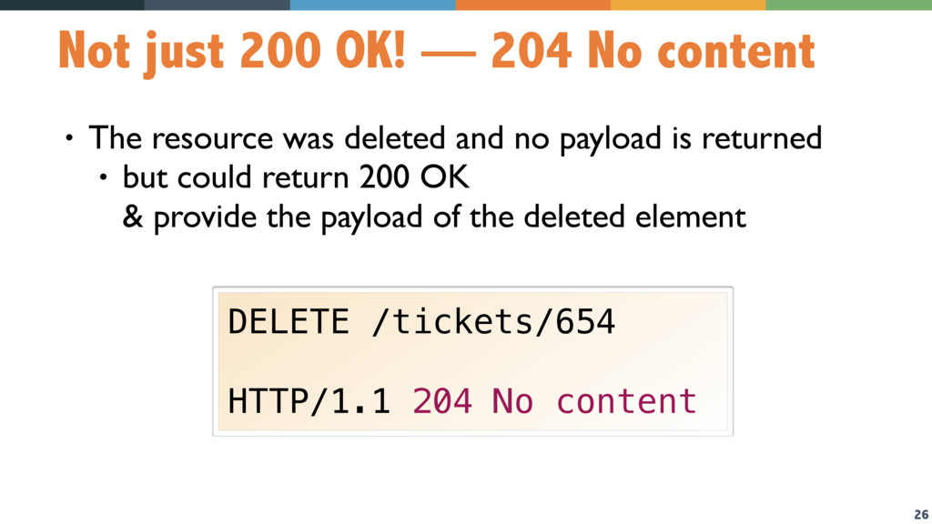 26 Not just 200 OK! — 204 No content • The reso...