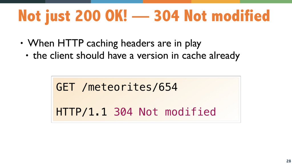 28 Not just 200 OK! — 304 Not modified • When H...