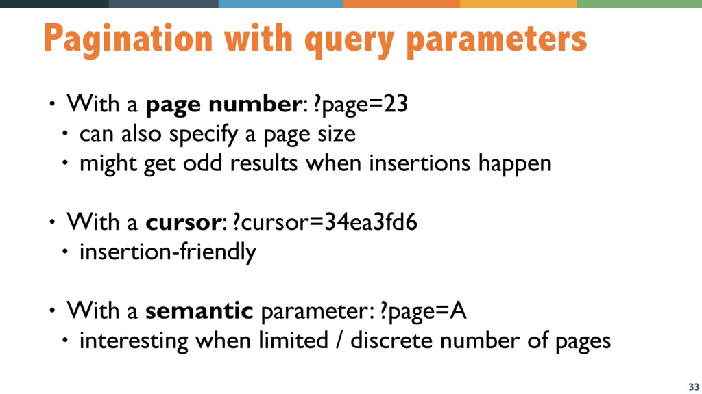 33 Pagination with query parameters • With a pa...