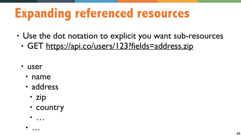 49 Expanding referenced resources • Use the dot...