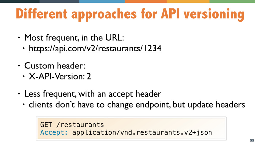 55 Different approaches for API versioning • Mo...