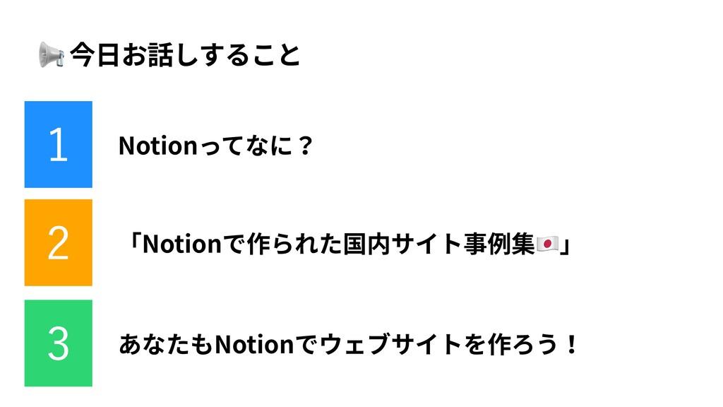 📢 今⽇お話しすること 「Notionで作られた国内サイト事例集🇯🇵」 あなたもNotionで...