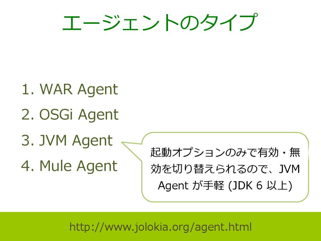 エージェントのタイプ 1. WAR Agent 2. OSGi Agent 3. J...