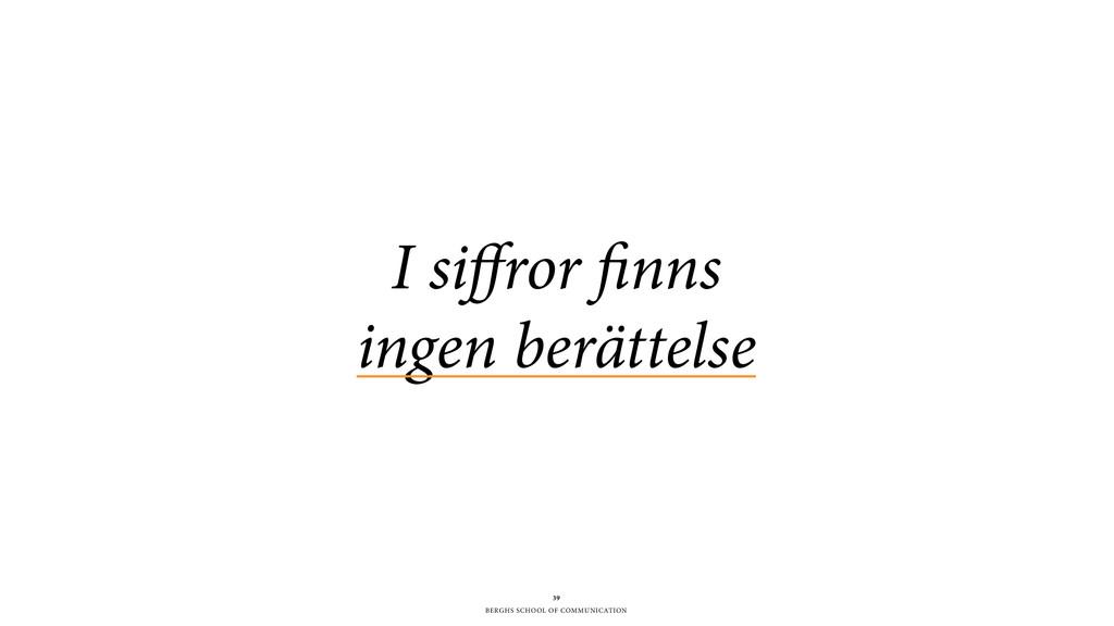 BERGHS SCHOOL OF COMMUNICATION 39 I siffror finn...
