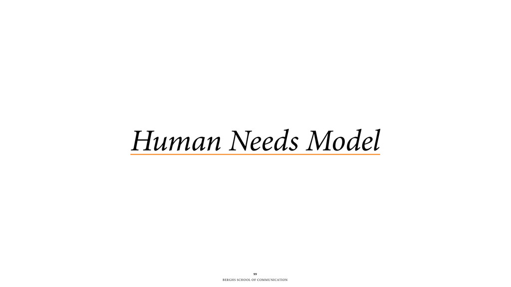 BERGHS SCHOOL OF COMMUNICATION Human Needs Mode...