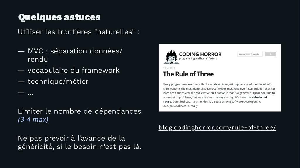 """Quelques astuces Utiliser les frontières """"natur..."""