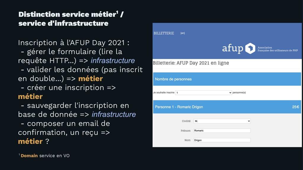 Distinction service métier1 / service d'infrast...