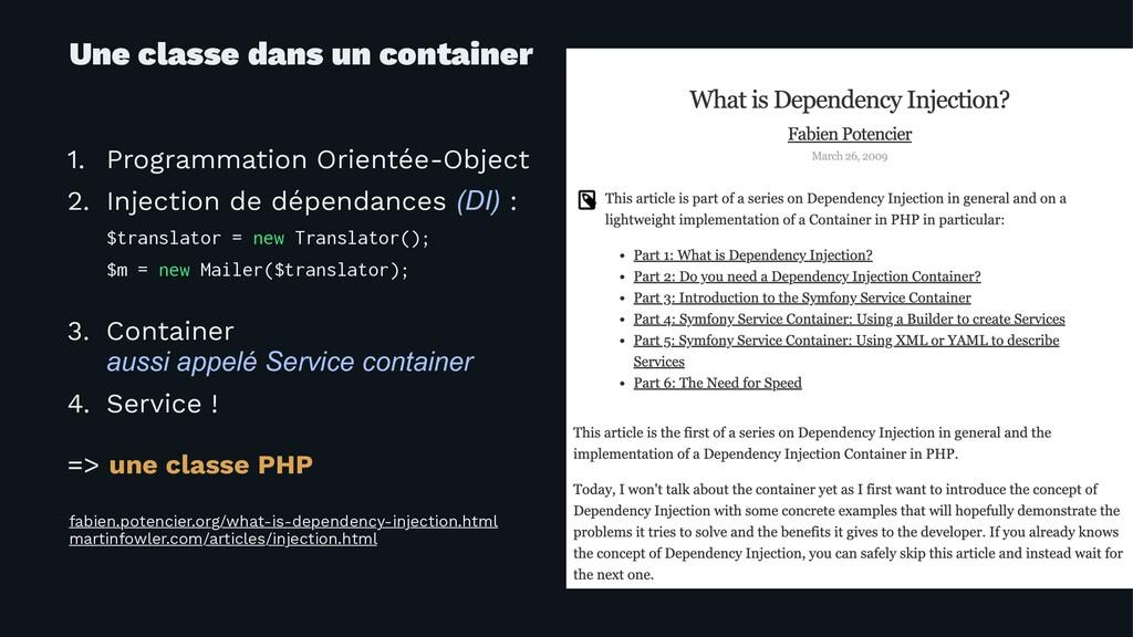 Une classe dans un container 1. Programmation O...
