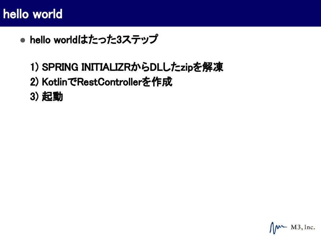 ● hello worldはたった3ステップ 1) SPRING INITIALIZRからDL...