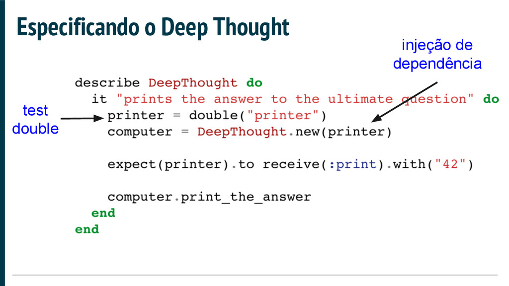 Especificando o Deep Thought test double injeçã...