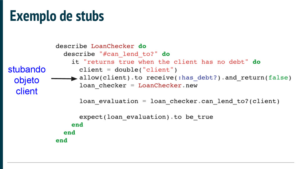 Exemplo de stubs stubando objeto client