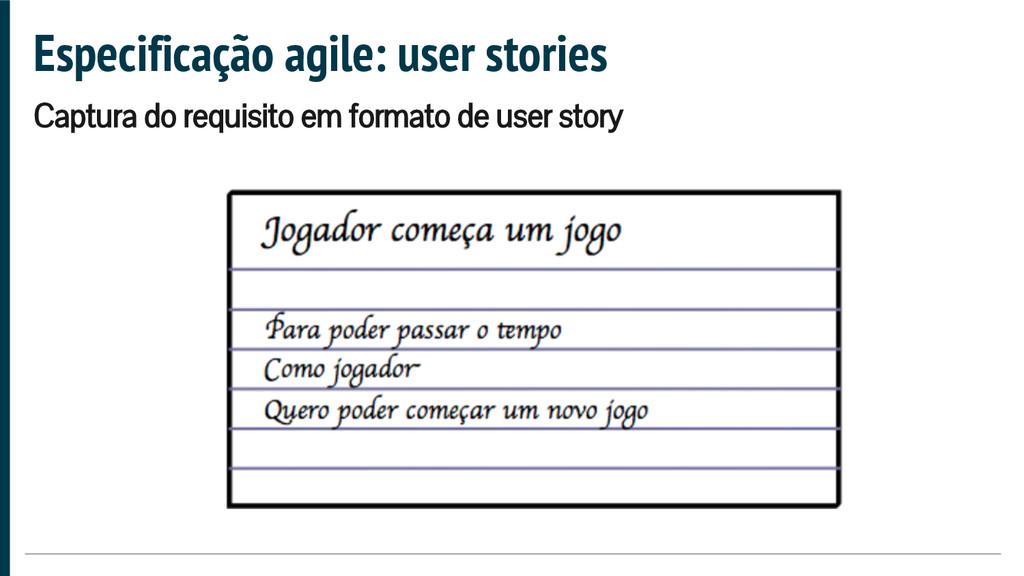 Especificação agile: user stories Captura do re...