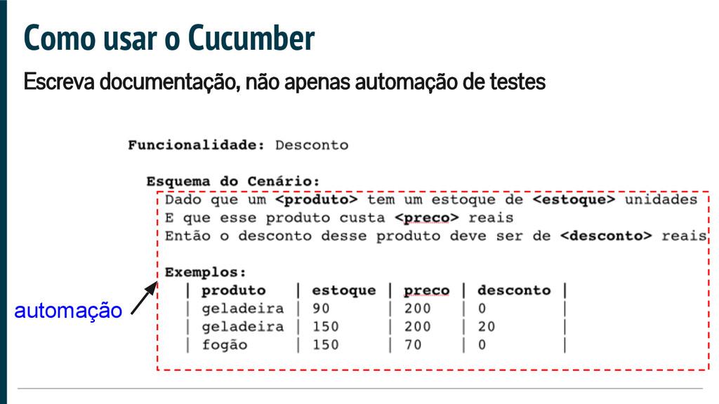Como usar o Cucumber Escreva documentação, não ...